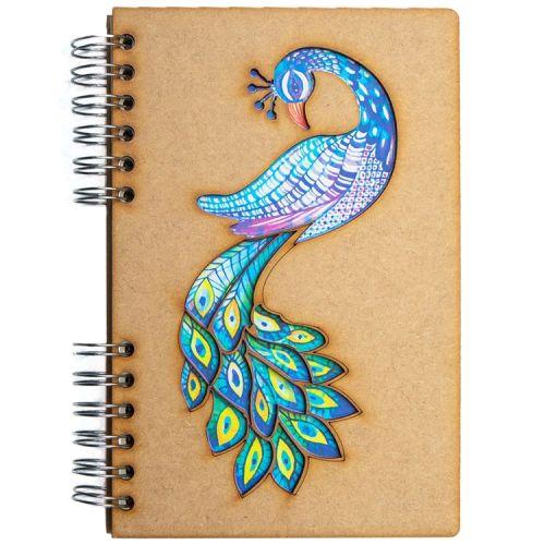Notebook MDF 3d kaft A5 gelinieerd - Pauw