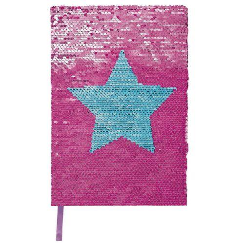 Notitieboek A5 pailletjes ster blauw/fuchsia lijn