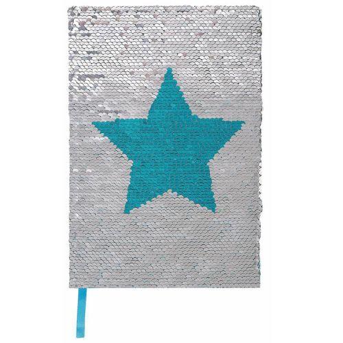 Notitieboek A5 pailletjes ster zilver/blauw lijnen