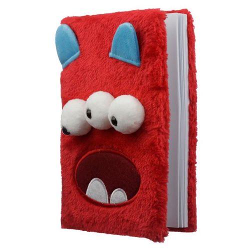 Notitieboekje A5 - Pluche kaft Monstarz rood monster