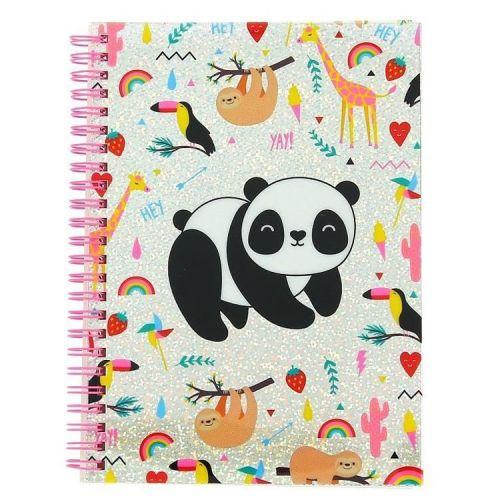 Notitieboek A5 gelinieerd - Happy Zoo Panda met glitters