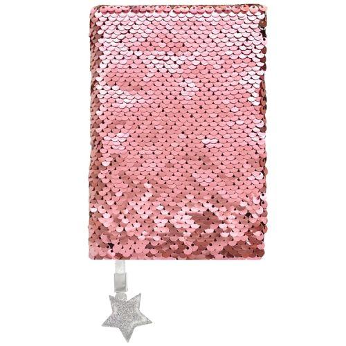 Notitieboekje A6 keerbare pailletjes roze/zilver