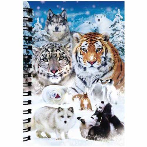 Notitieboekje 3d Wilde dieren in de sneeuw blanco
