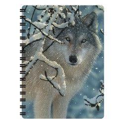 Notitieboekje 3d Wolf in de sneeuw