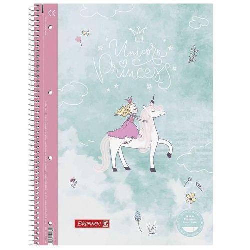 Collegeblok gelinieerd 4 -rings - Unicorn Princess met glitters