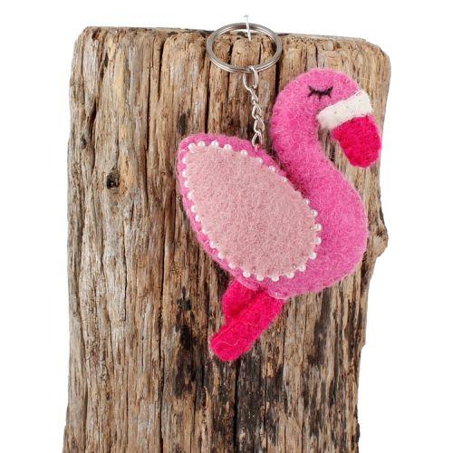 Vilten sleutelhanger flamingo roze