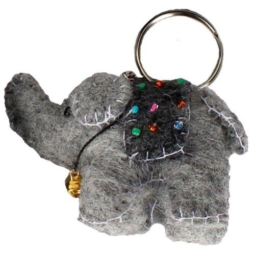 Vilten sleutelhanger - olifantje lichtgrijs 7cm