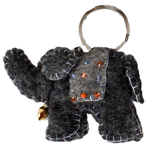 Vilten sleutelhanger - olifantje donkergrijs 7cm