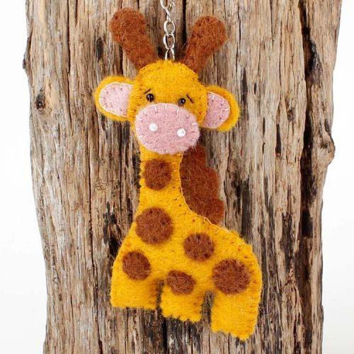 Vilten sleutelhanger - giraffe 10cm