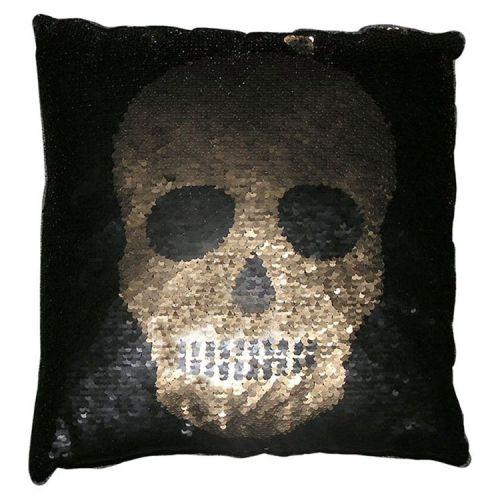 Kussen zwart met gouden schedel van pailletjes/lovertjes - 39 x 39cm