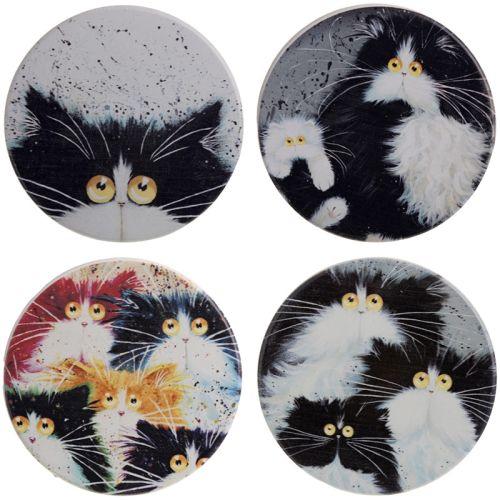 Set van 4 onderzetters - Kim Haskins katten