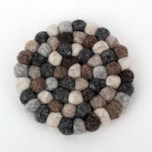 Vilten onderzetters grijs rond 10 cm - Set van 4