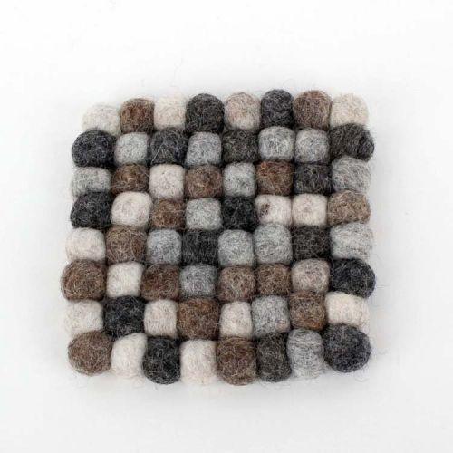 Vilten onderzetters grijs vierkant 10 cm -Set van 4
