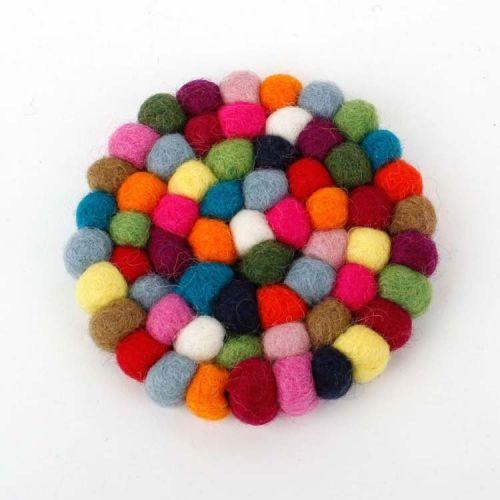 Vilten onderzetters multicolor rond 10 cm -Set van 4