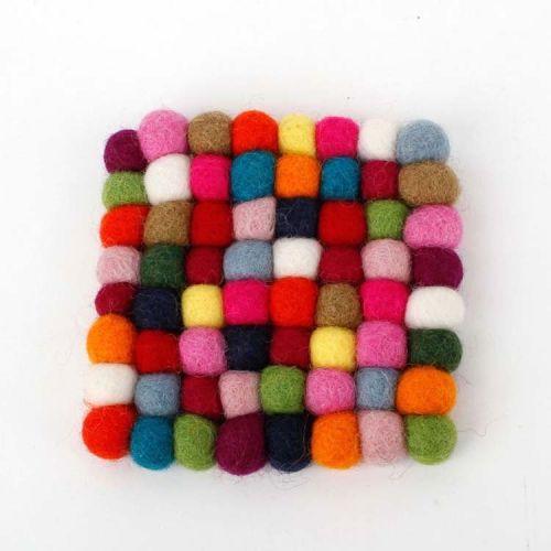 Vilten onderzetters multicolor vierkant 10 cm -Set van 4
