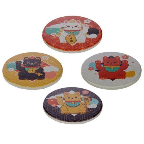 Set van 4 onderzetters - Maneki Neko Gelukskat