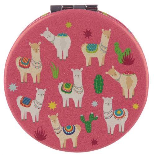 Make-up spiegeltje Lama/Alpaca roze
