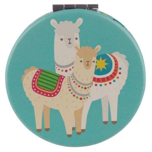 Make-up spiegeltje Lama/Alpaca blauw