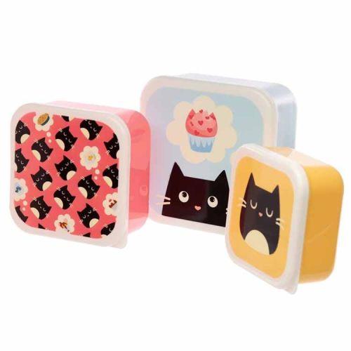 Set van 3 lunchtrommels - Feline Fine Kat
