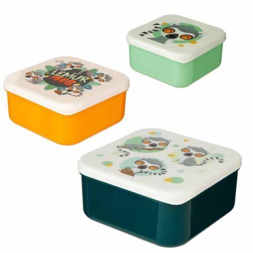 Set van 3 lunchtrommels - Lemur/Ringstaart Maki