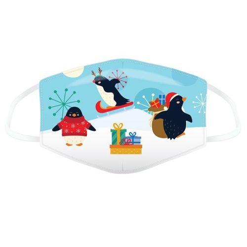 Mondkapje voor kinderen - kerst pinguins