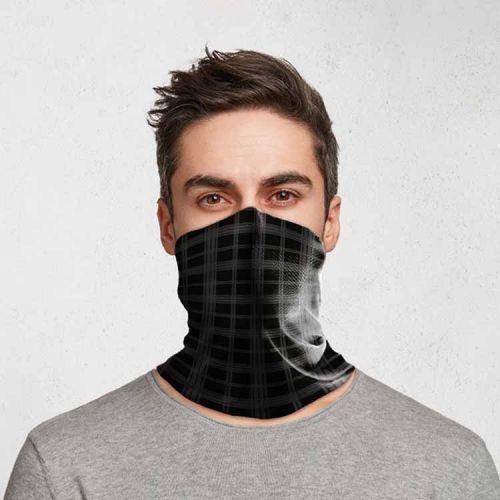 Gezichtsbedekking sjaal - Ruit Zwart/grijs