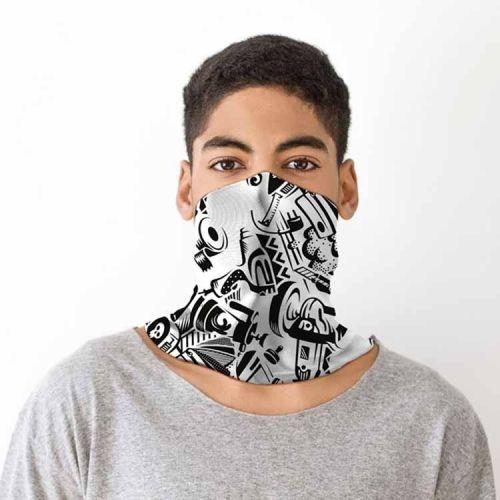 Gezichtsbedekking sjaal - Graffiti zwart/wit