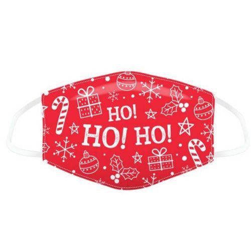 Mondkapje - Kerst rood met figuurtjes HoHoHo