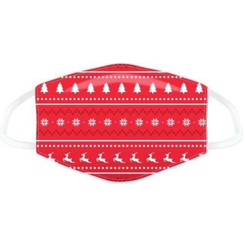 Mondkapje - kerst rood met kerstfiguurtjes