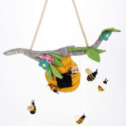Vilten mobiel bijenkorf met bijtjes