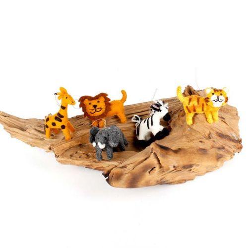 Vilten hangers jungle dieren 5 stuks