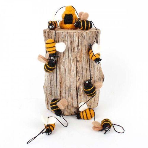 Vilten slinger bijtjes met bijenkorf