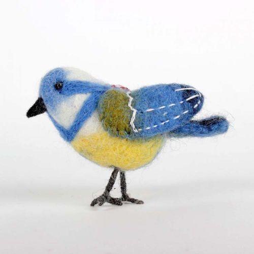 Vilten vogeltje pimpelmeesje 10cm