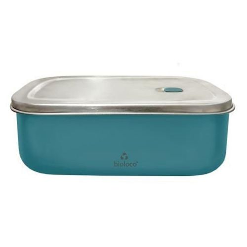 RVS bioloco lunchtrommel 20cm x 13,5cm x 7cm - Petrol blauw/groen