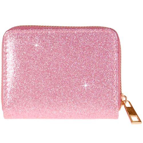 Meisjes portemonnee roze glitter