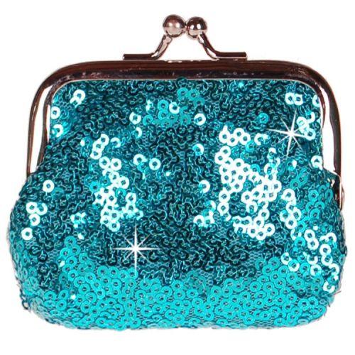 Knipportemonnee blauw met glitterpailletjes