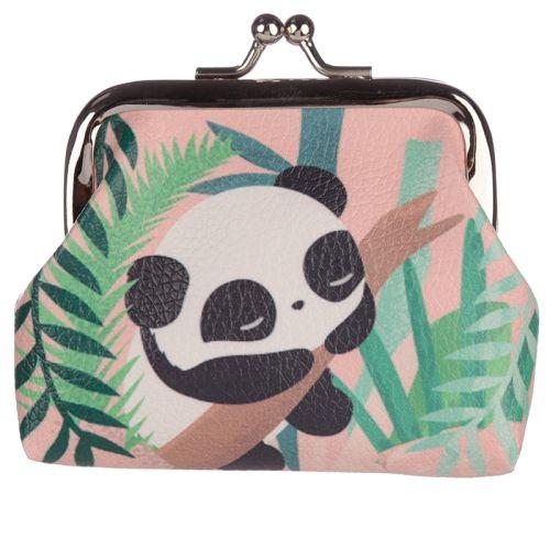 Knipportemonnee panda roze