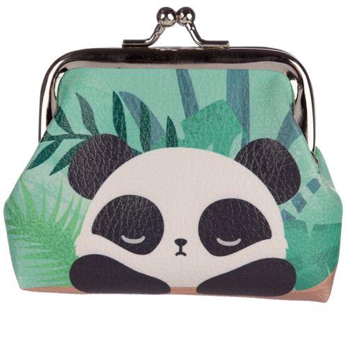 Knipportemonnee panda groen