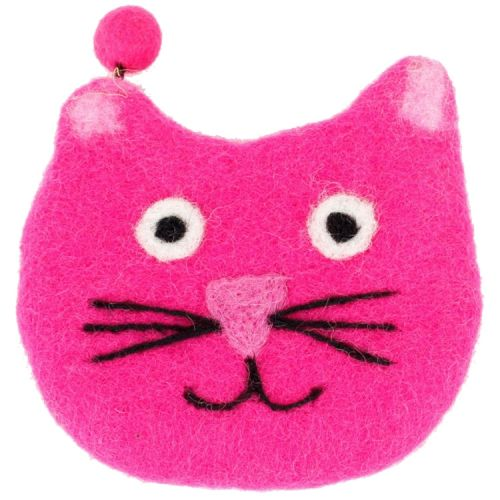 Vilten portemonnee kattenkop fuchsia
