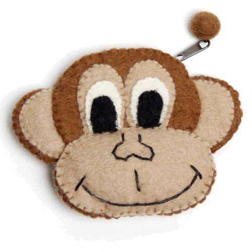 Vilten portemonnee aap bruin