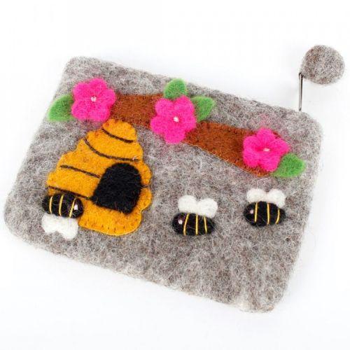 Vilten grote portemonnee/kleine etui bijen grijs