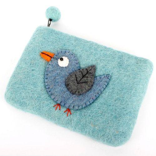 Vilten grote portemonnee/kleine etui vogel blauw