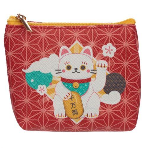 Kleine portemonnee Maneki Neko gelukskat rood