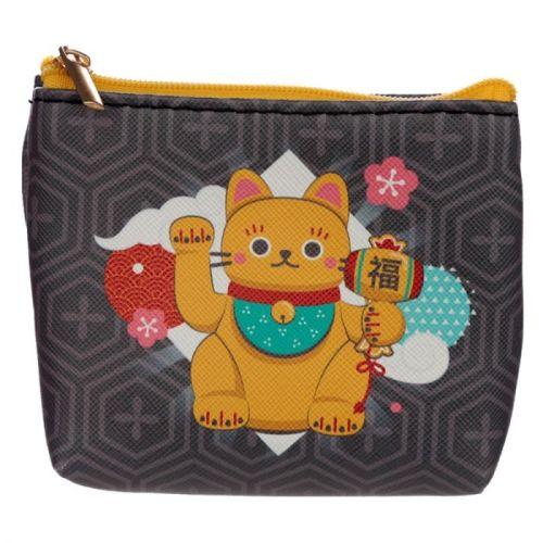 Kleine portemonnee Maneki Neko gelukskat zwart