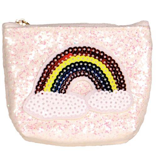 Kleine portemonnee glitters ivoor regenboog