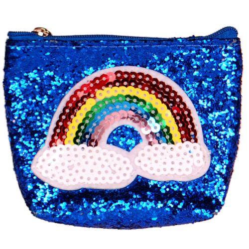 Kleine portemonnee glitters blauw regenboog