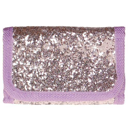 Portemonnee zilver/paars met glitters