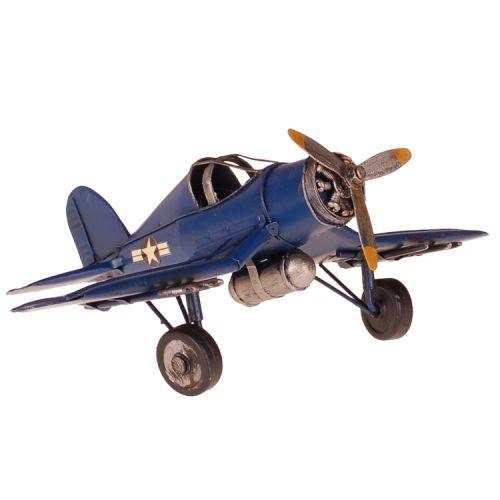 Metalen vliegtuig Corsair blauw
