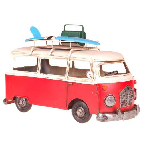 Metalen rode volkswagenbus