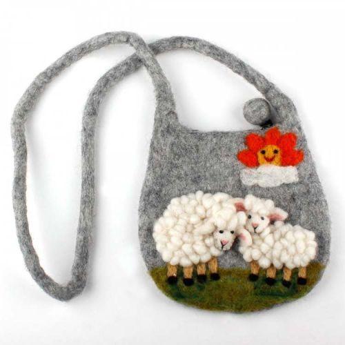 Vilten tasje grijs met witte schaapjes 15cm